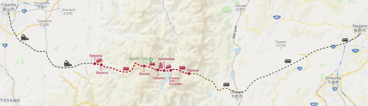 Tateyama Kurobe Alpine Route Map