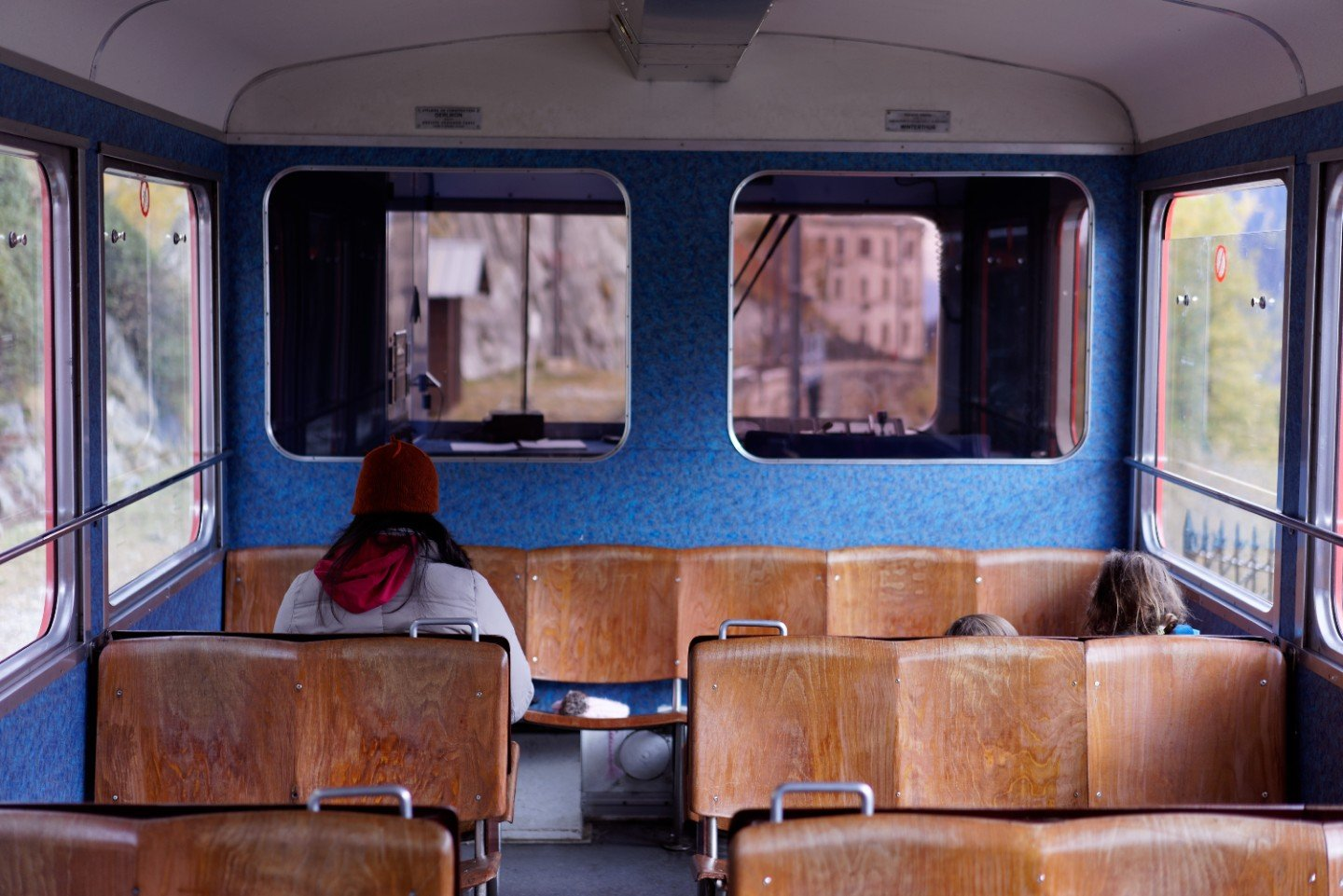 Inside old train carriage